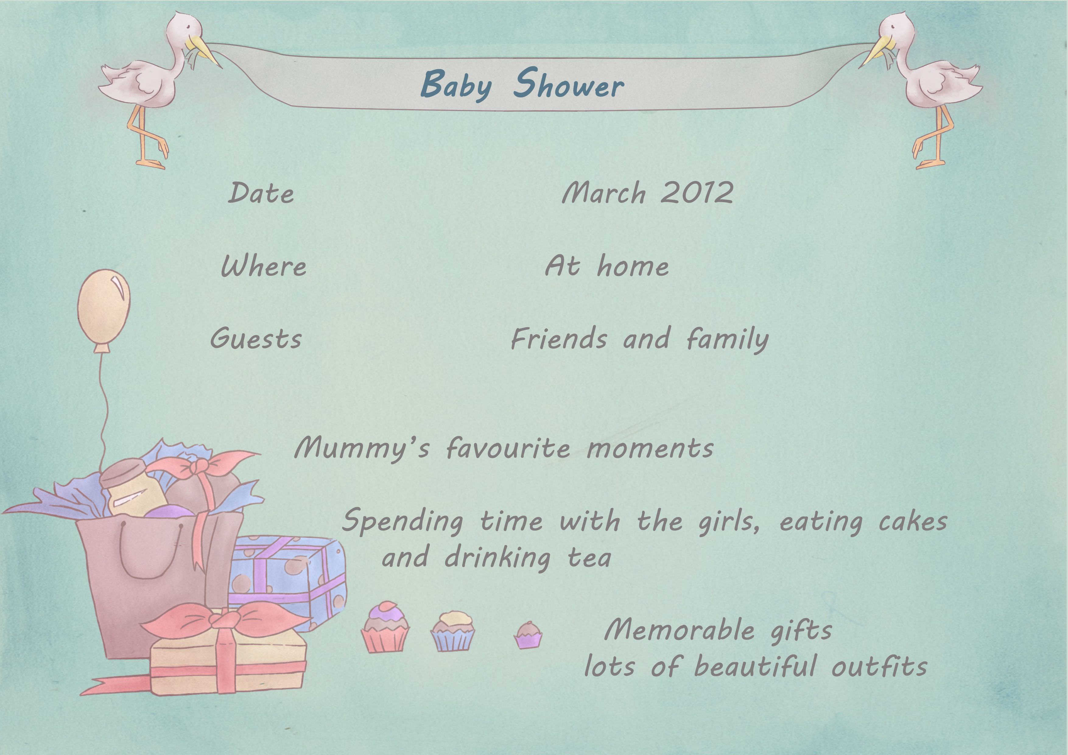 Baby Biography Baby Shower page